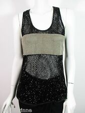STUNNING WOMENS ALL SAINTS CILIA TANK LEATHER PANEL HAND EMBELLISHED VEST 8 £150