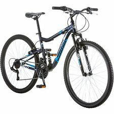 "Mongoose 27.5"" Men Mountain Bike Aluminium Navy Bicycle Dual Suspension Shimano"