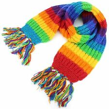 Wool Scarf RAINBOW Knit Knitted Long Wide Chunky Warm Shawl Wrap
