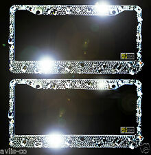 2 Large Clear Diamond Rhinestone License Plate Frames (Front and Back) NEW!
