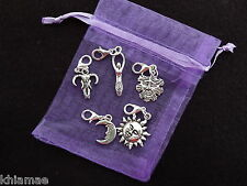 5 x Clip On Wiccan Bracelet Charms goddess sun moon oak king pagan silver set