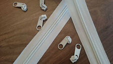 Upholstery Continuous zip N5 (50 mtr white & 100 sliders) good quality