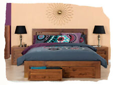 Colby 3 Piece QUEEN Size Walnut Timber Suite With Storage Drawers - BRAND NEW