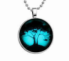 Fashion Punk Style Lucky Tree Glow in the Dark Stainless Steel Necklace Pendant