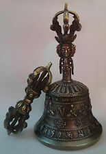 "Tibetan Buddhist 5 Pronged Bronze Bell 7.5"" and Vajra/Dorje (Medium) - Nepal"