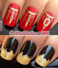 Nail Art Set # 130. Cadena De Oro enlaces Agua transfers/decals/stickers & Hoja De Oro