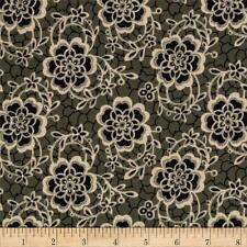 Downton Abbey Dowager Collection Cotton Fabric Andover Black  Floral  BFab
