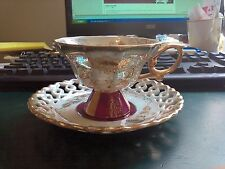 Antique Royal Sealy Reticulated Luster Cup Saucer Gold Gild Japan