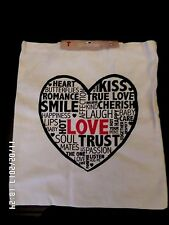 BNWT  LOVE HEART CANVAS REUSABLE SHOPPING SHOULDER BAG