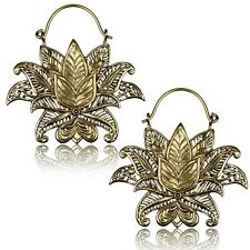 "PAIR ORNATE BRASS EARRINGS LOTUS FLOWER 1"" 3/4 INCH GAUGES HOOPS HANGERS PLUGS"