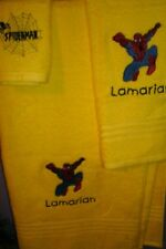 Spiderman Personalized 3 Piece Bath Towel Set  Your Color Choice