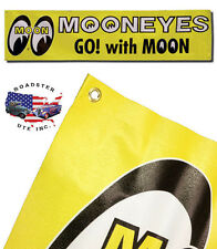 MOONEYES BANNER YELLOW VINYL HOT RODS KUSTOM GARAGE SHOP SIGN FORD CHEVY VW MOON