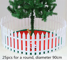 DIY White Plastic 5pcs/Set Christmas Tree Fence Rail Indoor/Outdoor Home Decor