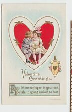 VALENTINE'S DAY Love Postcard Holiday Greetings c1910 KISS Heart Whisper #231