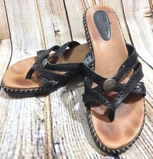 MINNETONKA Moccasin Black Leather Sandals Sz 9M Thick Stitch Slip On Wedge Slide