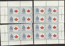 Stamps Canada # 429a, 5¢, 1966, plate #1, 4 plate blocks of 4 MNH stamps.
