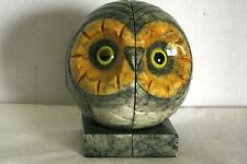 ABF ALABASTER OWL BOOKENDS MIDCENTURY MODERN ITALY NUMBERED COLORS