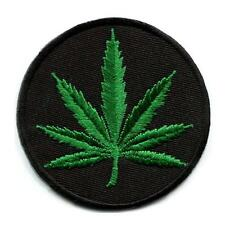 "MARIJUANA LEAF IRON ON PATCH 3.2"" Round Pot Weed Hippie Embroidered Applique NEW"