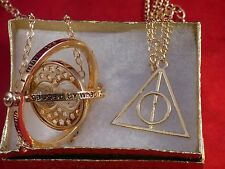 Harry Potter Time Turner+GOLD Deathly Hallows Charm Pendant necklace