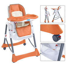Portable Baby High Chair Infant Toddler Feeding Booster Folding Highchair Orange