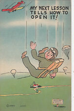 """WW2 military USA comic postcard """"My Next Lesson tells how to open it"""""""