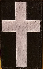 Christian Cross Emblem Patch with VELCRO® brand fastener Black & White  #5
