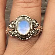 Natural Rainbow Moonstone 925 Solid Sterling Silver Solitaire Filigree Ring 8.75