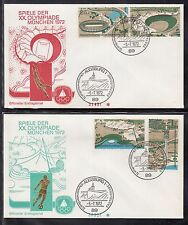 A 20 ) Germany 2 beautiful FDC 1972 -  Olympic Games Munch / Stamped Augsburg