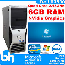 Quad Core PC Dell T3500 Precision Xeon 2.13GHz 6GB DDR3 Workstation Win 7 Pro