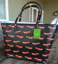 "*RARE* SOLD OUT! KATE SPADE ""BLAZE A TRAIL HARMONY FOXES"" TOTE BAG, NWT"