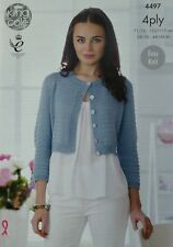 KNITTING PATTERN Ladies 3/4 Sleeve Easy Knit Cropped Cardigan Cotton 4ply 4497