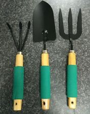New Gardening Tools 3 piece Garden Hand Tool Set - Trowel Fork Transplanter UK