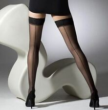 Gipsy Black Sheer Cuban Heel Seamed Hold-ups Stockings