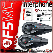 INTERPHONE F5MC CELLULARLINE BLUETOOTH MOTORCYCLE HELMET TWIN 2 INTERCOM SYSTEM