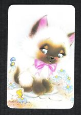#915.015 Blank Back Swap Card -MINT- Siamese cat with bluebird & envelope