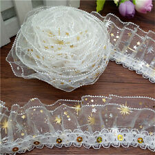 NEW 5 yards 3-Layer Golden Flower stars Lace Gathered Pleated sequined Trim MG31