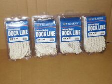 """4 NEW 3/8"""" x 15' Twisted Nylon Dock Line Boat Mooring White Stearns G007WHT"""