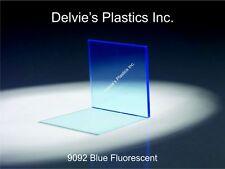 """1/8"""" 9092 Fluorescent Blue Cell Cast Acrylic Sheet  12"""" x 12"""""""
