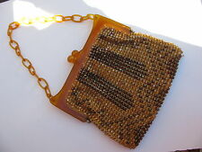 ANTIQUE VTG. VICTORIAN GENUINE AMBER FRAME CHAIN HAND CUT GLASS BEADS PURSE BAG