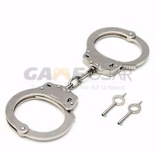 Professional Chrome Nickle Plated Steel Double Lock Police Hand Cuffs Keys