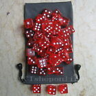 Lot 50 Red 6 Sided D6 16mm RPG D&D D20 Game Dice bag RG