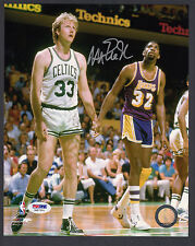 Magic Johnson Autographed 8x10 Color Photo with Larry Bird PSA/DNA