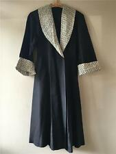 Vintage 1930s/40s/50s Black Leopard Animal Print Dressing Gown Dress UK8 10 12