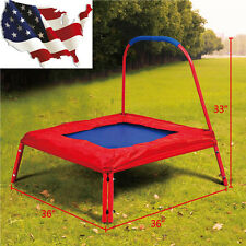 3' x 3' Square Jumping Trampoline w/ Handle Bar and Safety Pad for Kids New