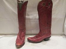Vino oscuro Vintage Cuero tire de botas de vaquero UK 6.5 (545)
