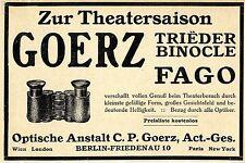 Optische Anstalt C. P. Goerz Berlin Friedenau Trieder Binocle Fago Zur Th...1913