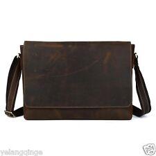 vintage genuine cowhide men leather shoulder messenger bag retro satchel bookbag