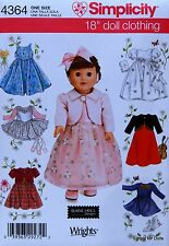 "Simplicity 4364 Sewing PATTERN for 18"" DOLL CLOTHES Communion Ice Skating Ballet"