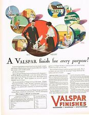 1920's BIG VINTAGE Valspar Finish / Paint Donald Gardner Art Print AD
