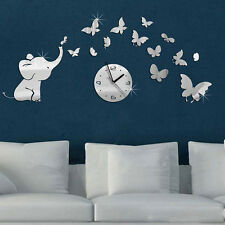 3D DIY Elephant Butterflies Mirror Wall Decal Wall Clock Sticker Art Decoration